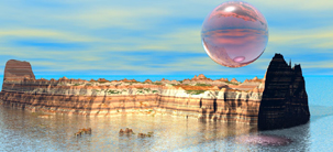 Desert Waterway surreal CGI image screensaver