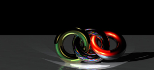 Eternal Rings multi colored still life rings screensaver CGI image