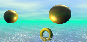 Golden Rings surreal screensaver CGI image