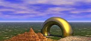Land Ho screensaver CGI image with a gold torus and landscape