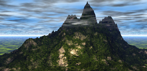 Mountain Haze surreal landscape CGI image screensaver