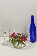 Red Oleander and two Glasses and a Cobalt Wine Bottle