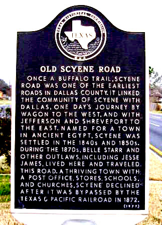 Historical marker of Scyene Texas an outlaw ghost town from the 1800's