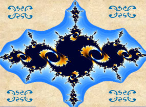A blue and gold Julia fractal image