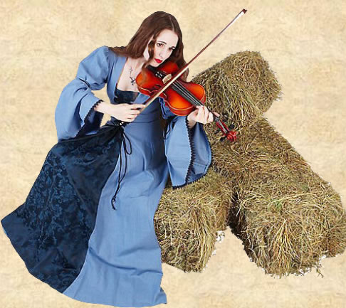 Woman with a Violin sitting on hay