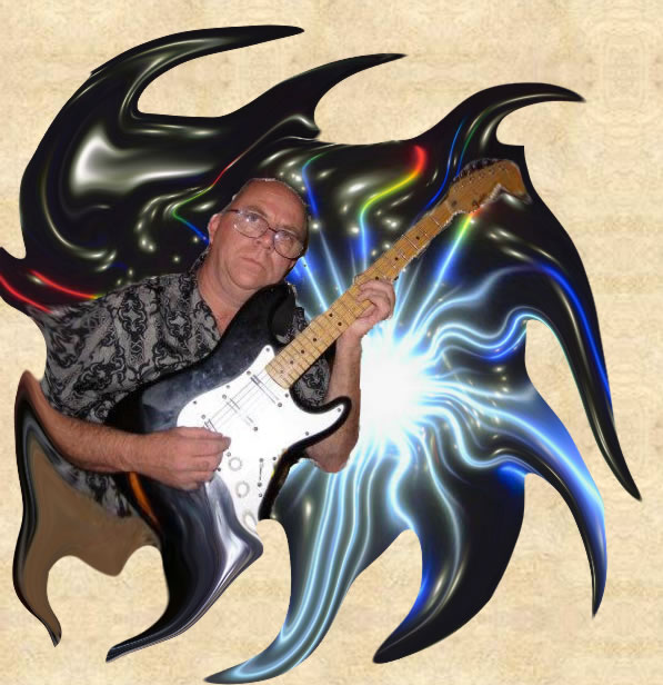 Faron Collins playing a Stratocaster with a psychedelic background
