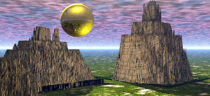 Solar Canyon surreal screensaver CGI landscape image