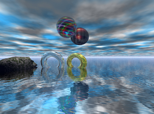 Spheres supended in air with rings in the water